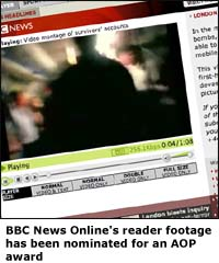 BBC News Online's reader footage has been nominated for an AOP award