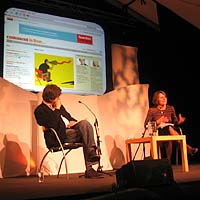 Alan Rusbridger and Georgina Henry speaking at the Hay Festival in Powys